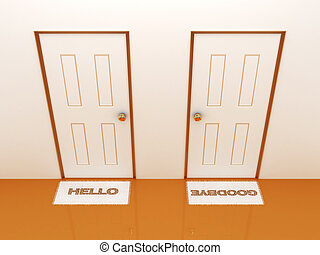 Doors with doormats hello and goodbye3D