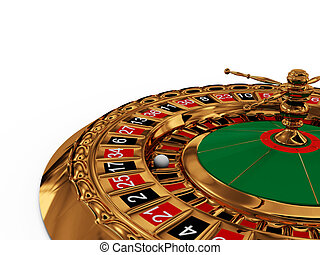 Casino roulette wheel on white background 3D