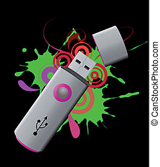 violet usb pen drive - illustration of violet usb pen drive...