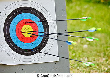 Target archery - Archery target with five  arrows