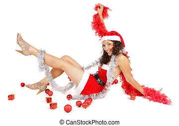 excited santa woman and ornaments