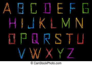 Set of Alphabet - illustration of set of alphabet in techno...