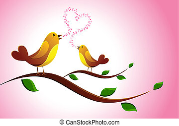 Singing Love Bird - illustration of pair of love bird...