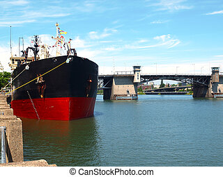 Ship moored, Portland OR. - Heavy duty mechanical dredger...