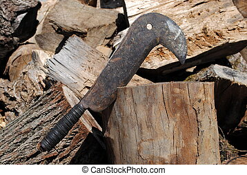 bill hook - Homemade bill hook for cut small wood, old and...
