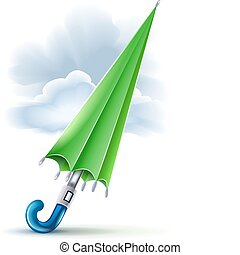 closed umbrella and clouds in rainy weather vector...