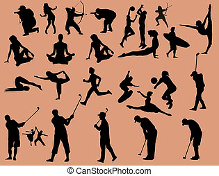Sport silhouettes - Sport people silhouettes set, vector...