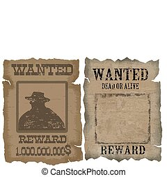 A old wanted posters with a cowboy silhouette and blank,...
