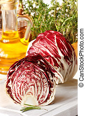Fresh gargen radicchio. - Fresh garden radicchio, thyme and...