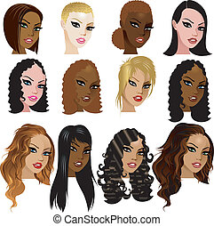 Mixed Biracial Women Faces - Vector Illustration of Mixed...