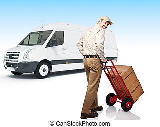 delivery service - smiling caucasian worker in uniform with...