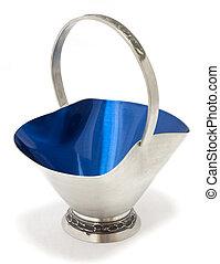 Antique pewter bowl with blue enamel inside