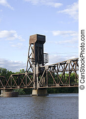 Railroad lift bridge in Hastings Minnesota - Railroad lift...