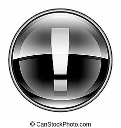 Exclamation symbol icon black, isolated on white background