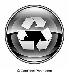 Recycling symbol icon black, isolated on white background.