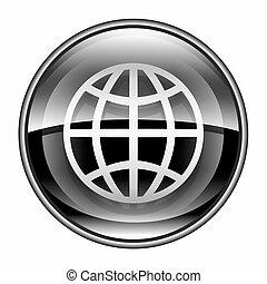 Globe icon black, isolated on white background.