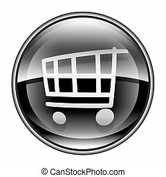 shopping cart icon black, isolated on white background