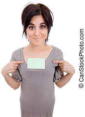 showing - young beautiful woman pointing to a card, isolated