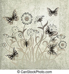 abstract grunge illustration with flowers and butterfly -...