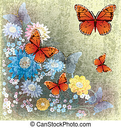 abstract grunge illustration with butterfly and flowers -...