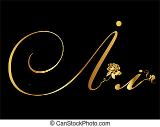 Golden Vector Letter I with roses collection