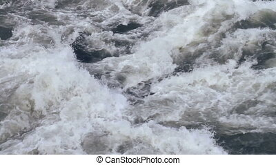Water Rapids - Turbulent water of large river rapids