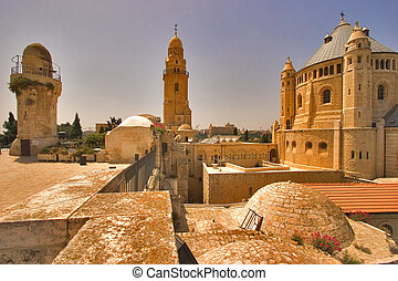 Ancient Jerusalem. - Churches and mosques in old quarters of...