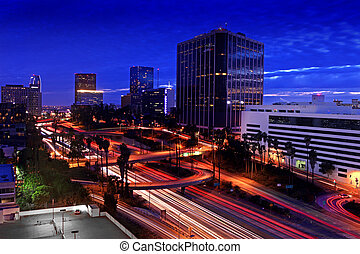 Timelapse Image of Los Angeles freeways at sunset - Los...