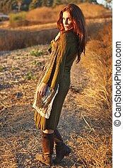 Fashion Model Posing Outdoors at Sunset