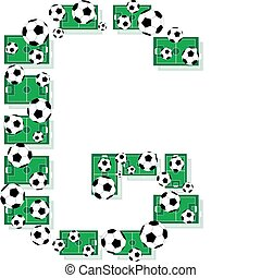 G, Alphabet Football letters made of soccer balls and fields...