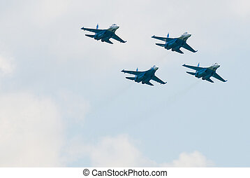 Military air fighter - Russian military fighter SU-27 at...