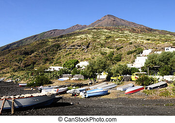 Stromboli Island - View of the volcano Stromboli in the...