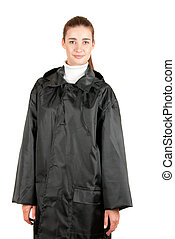 raincoat - pretty brunette girl at black raincoat on a white