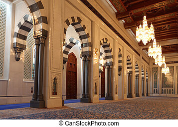 Interior of the Grand Mosque in Muscat, Oman