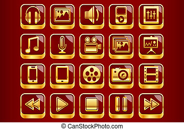 Royal Red Multimedia Icons