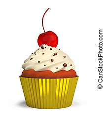 cupcake - Fruitcake with a cream and a cherry in a gold cup....