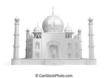 Taj Mahal - White shining Taj Mahal. 3d image. Isolated...