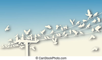 Bird roost cutout - Editable vector cutout of birds roosting...
