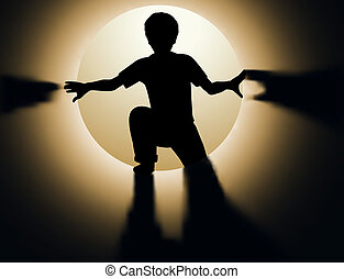 Child tunnel - Editable vector silhouette of a young boy...