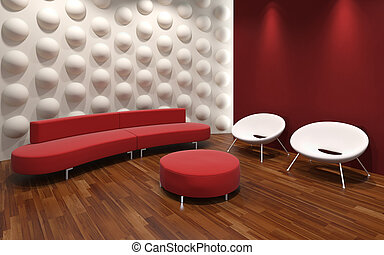 modern interior design - modern design of a red and white...