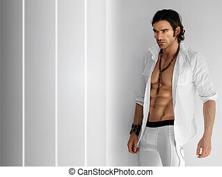 Sexy man - Portrait of a handsome fitness model wearing open...