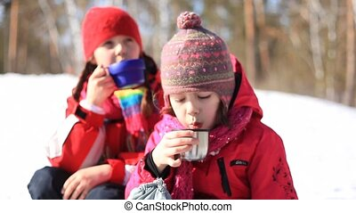 Tea drink - Two girls drinking tea in winter forest