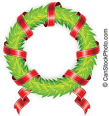 Round wreath with ribbon