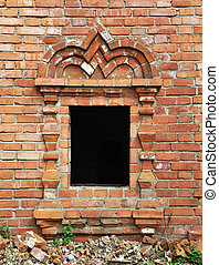 Vintage window in ancient monastery - Old vintage window...