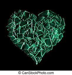 broken green glass heart isolated on black background....