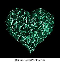 cassé, vert, verre, coeur, isolé, noir, fond,...