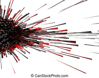 3d abstract explosion red black cube light effect