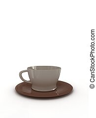 A cup of coffee on white background. 3D