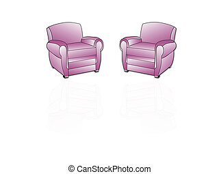 Two armchairs with reflections on a white background