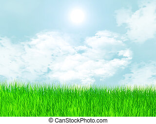 Meadow with grass and cloud in the shape of a heart